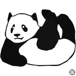 Fetrengő panda maci matrica