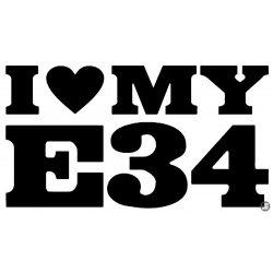 BMW matrica I Love MY E34 felirat