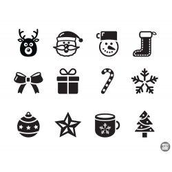 """Karácsonyi díszek """"7"""" szett Matrica (30 cm)"""