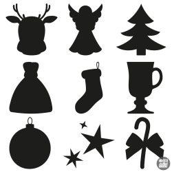 """Karácsonyi díszek """"15"""" szett Matrica (30 cm)"""