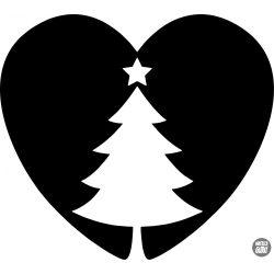 Szív és Karácsonyfa Matrica